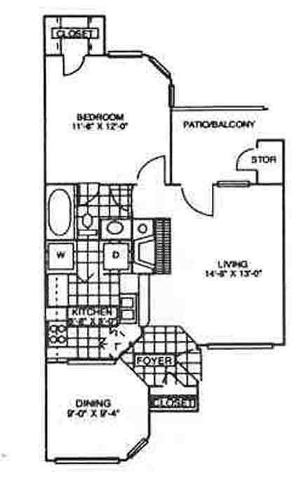 654 sq. ft. Aspen floor plan