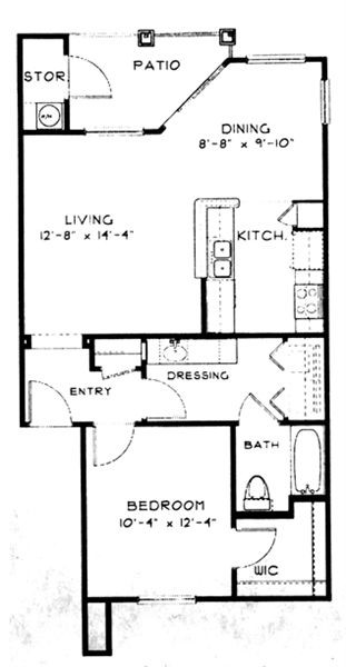 702 sq. ft. A2 floor plan