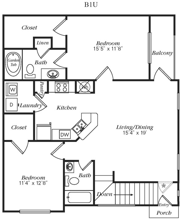 1,149 sq. ft. B1U floor plan
