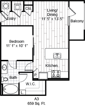 659 sq. ft. A3 floor plan