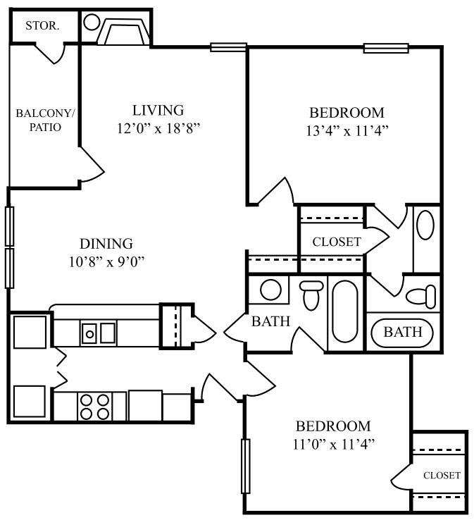 920 sq. ft. E floor plan