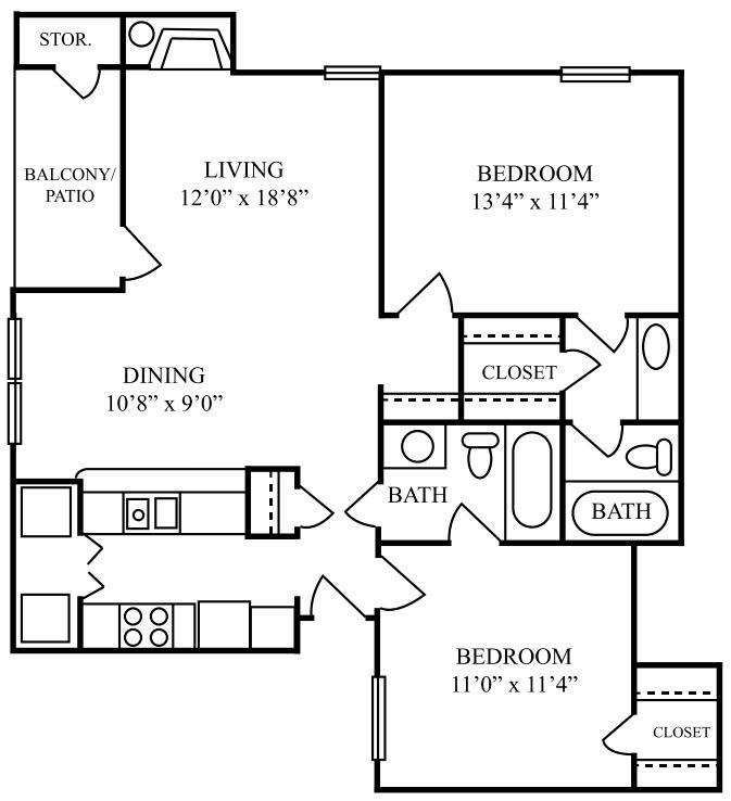 920 sq. ft. E floor plan