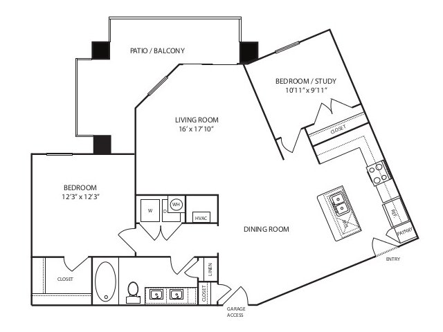 928 sq. ft. A4 alt 1 floor plan