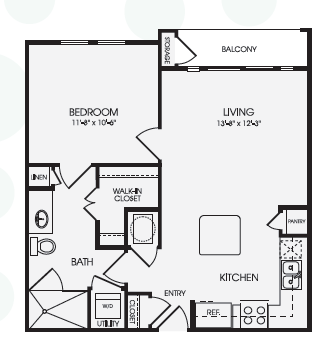 655 sq. ft. Chandler/A2 floor plan