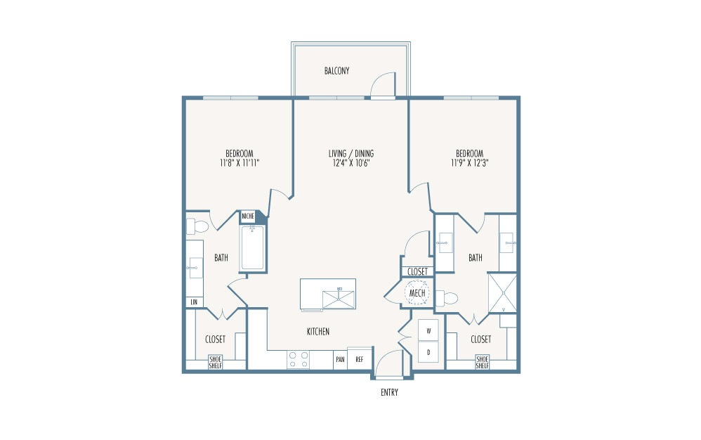 1,126 sq. ft. B1 floor plan