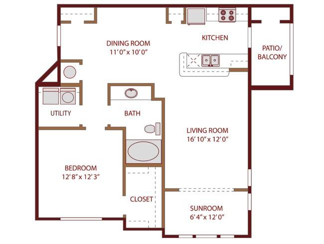 954 sq. ft. Surge floor plan