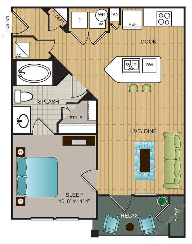 632 sq. ft. A3 floor plan
