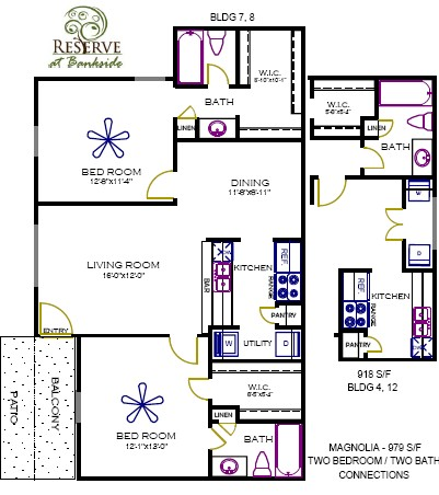 918 sq. ft. to 979 sq. ft. Magnolia floor plan