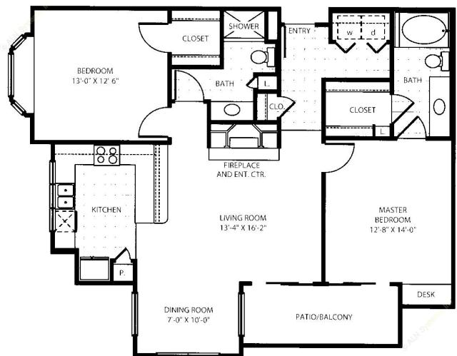 1,161 sq. ft. B3 floor plan