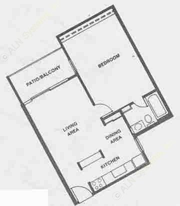 562 sq. ft. A5 floor plan