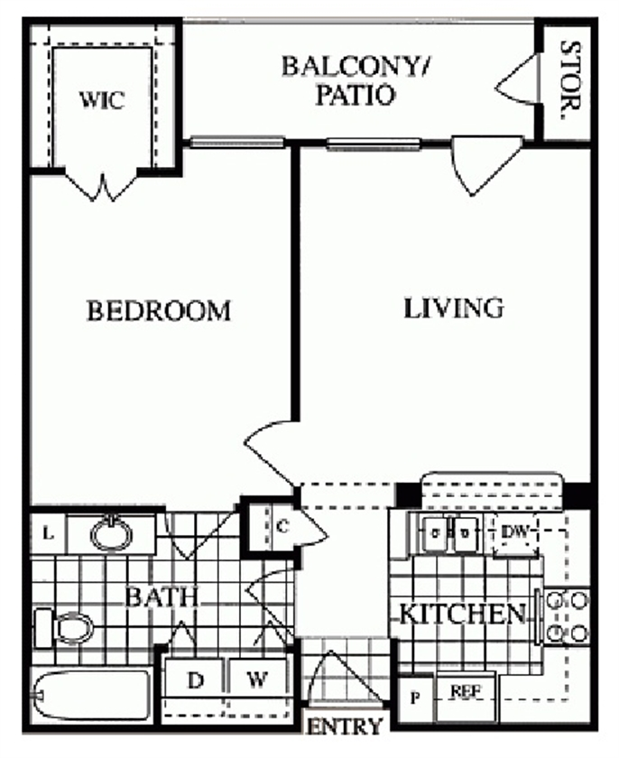 638 sq. ft. Richmond/A floor plan