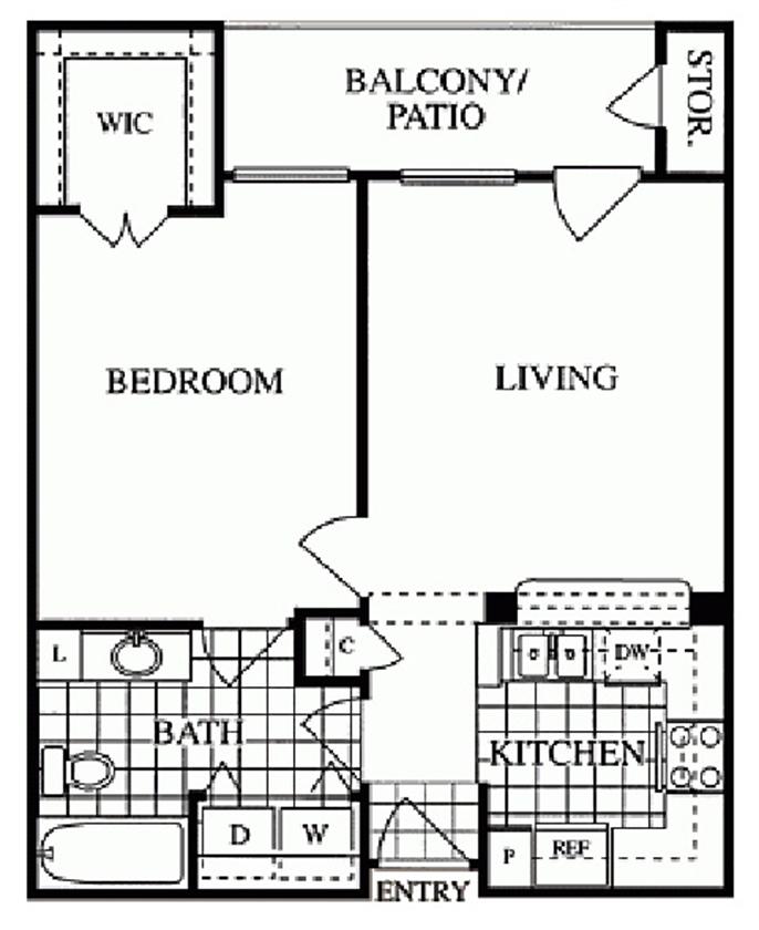 638 sq. ft. Richmond/A floor plan