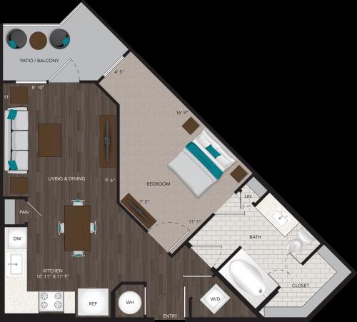 638 sq. ft. A3A floor plan