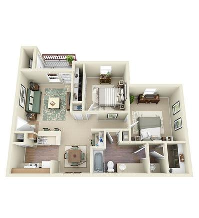881 sq. ft. Centennial floor plan