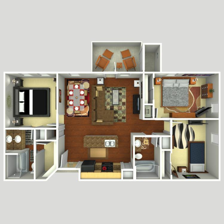 1,150 sq. ft. C1 floor plan