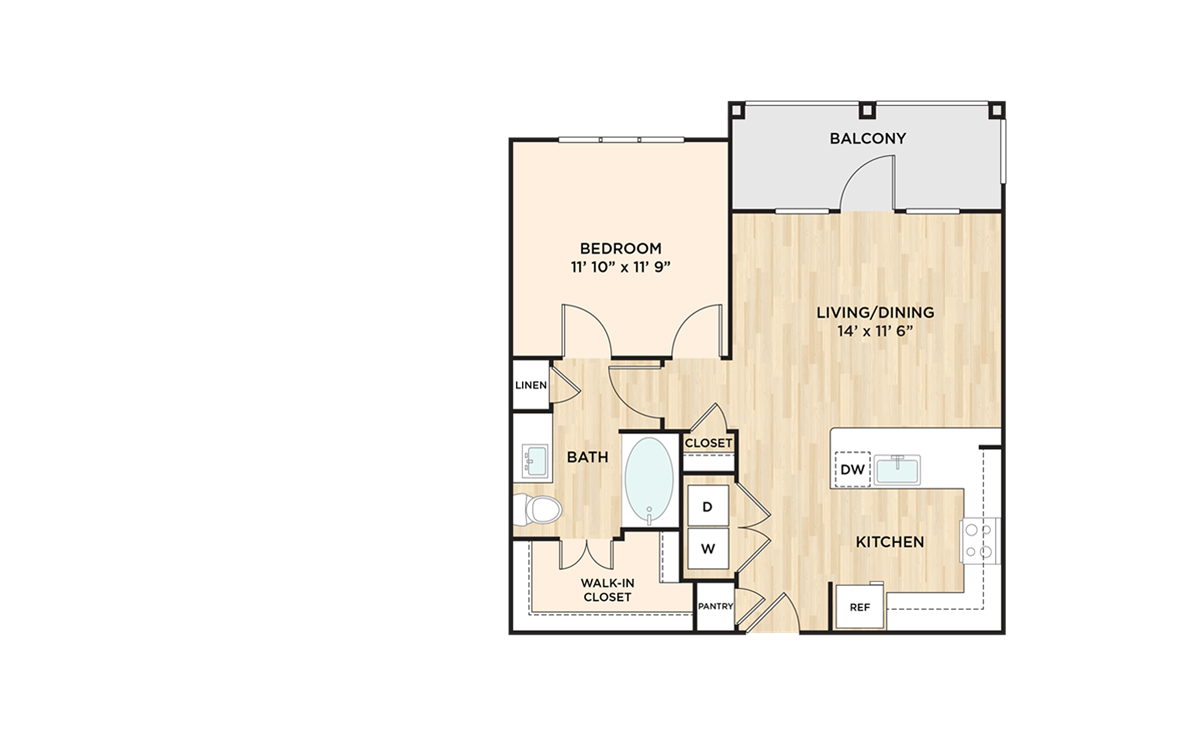 723 sq. ft. to 759 sq. ft. A3 floor plan