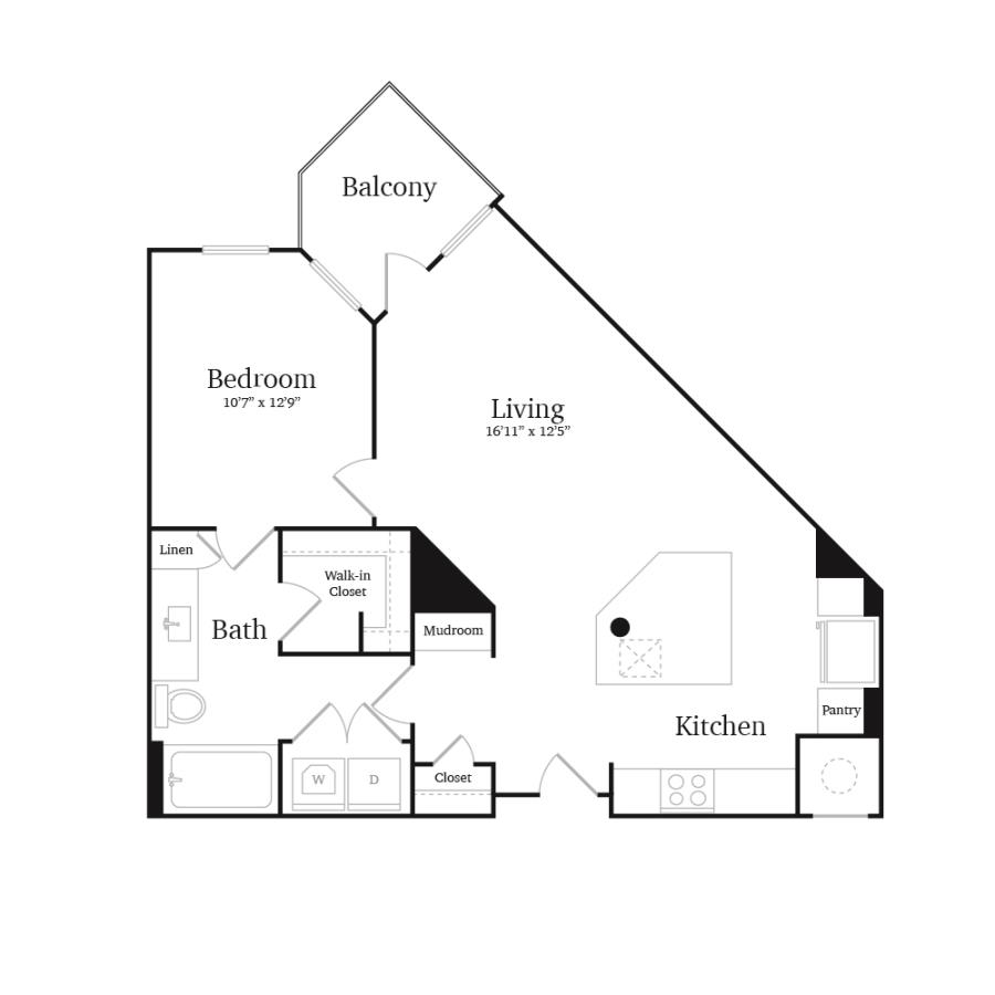 738 sq. ft. A7 floor plan