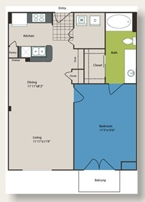 708 sq. ft. to 799 sq. ft. A2 floor plan