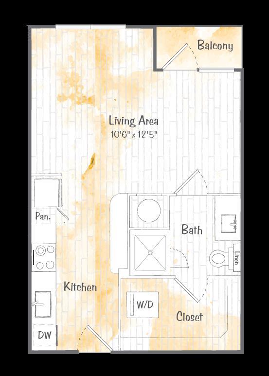 491 sq. ft. A1 floor plan