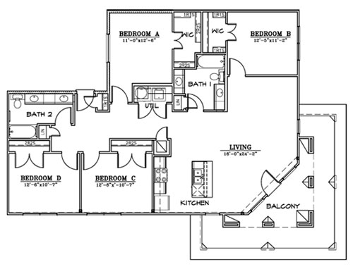 1,573 sq. ft. D2 floor plan