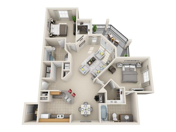 1,137 sq. ft. B3 floor plan