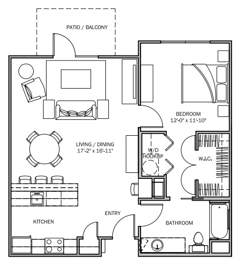 825 sq. ft. Sunflower MKT floor plan