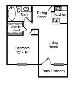600 sq. ft. Berkley floor plan