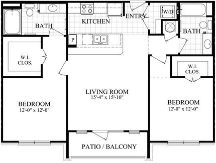 1,064 sq. ft. C floor plan