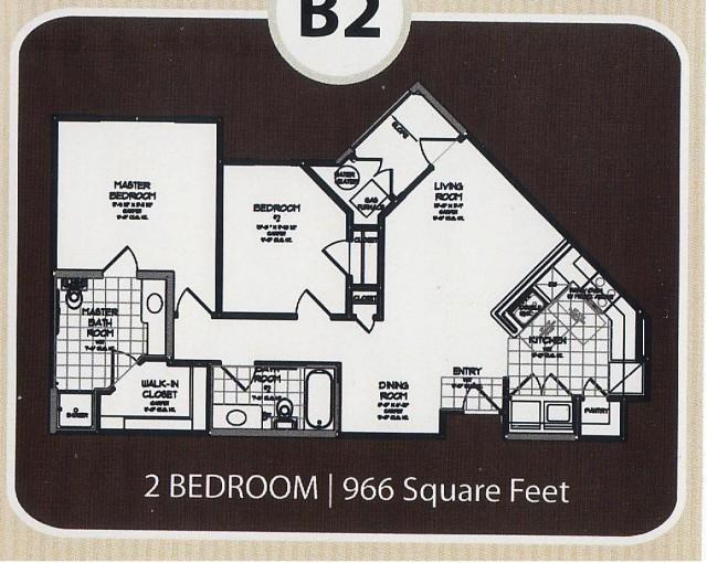 966 sq. ft. 60% floor plan