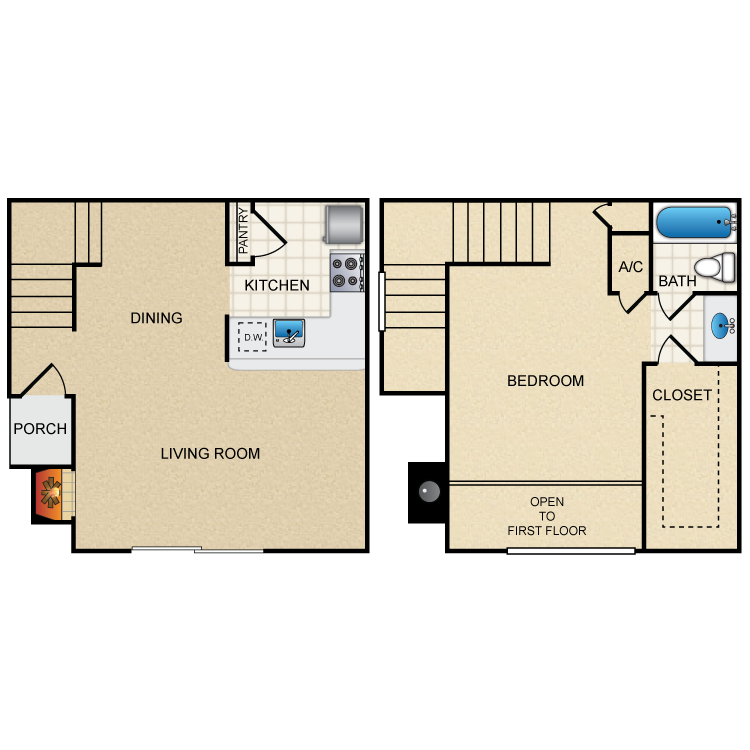 768 sq. ft. C floor plan