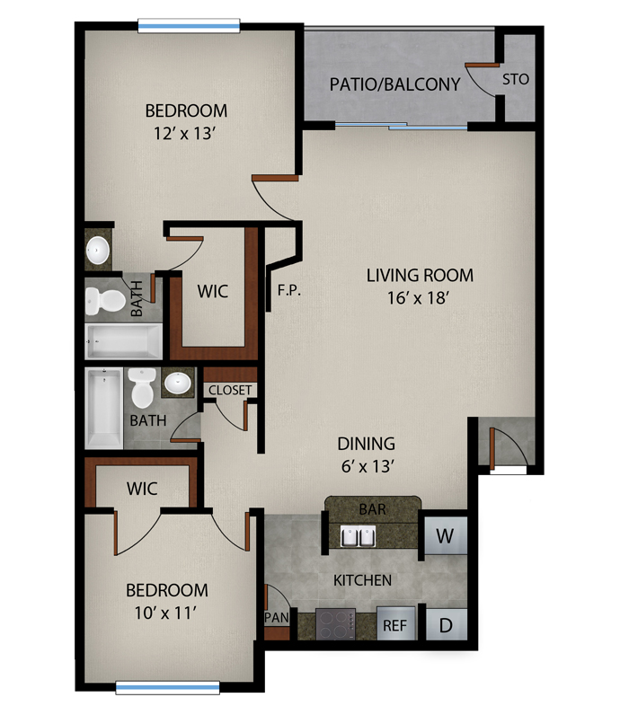 985 sq. ft. Augusta floor plan