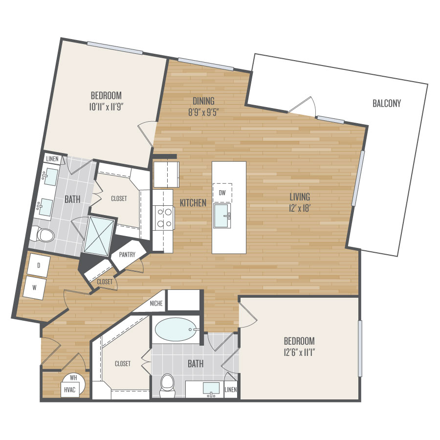 1,242 sq. ft. B6 floor plan