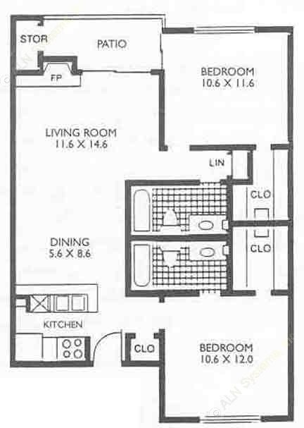 880 sq. ft. B2 floor plan