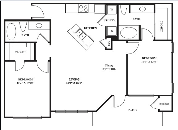 1,086 sq. ft. Arabian floor plan