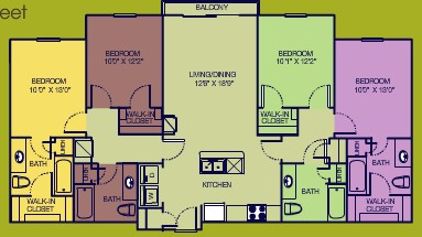 1,470 sq. ft. 4/4 HC floor plan