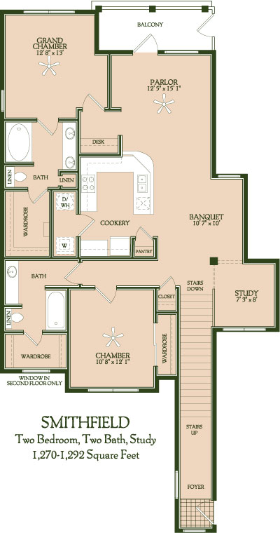 1,270 sq. ft. to 1,292 sq. ft. Smithfield floor plan