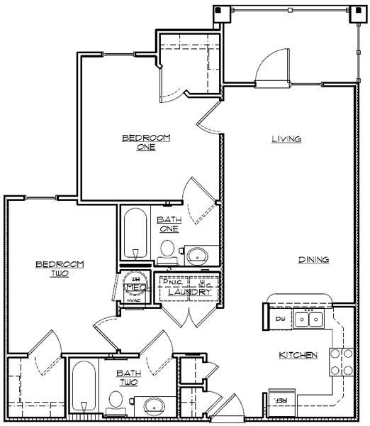 982 sq. ft. 60% floor plan