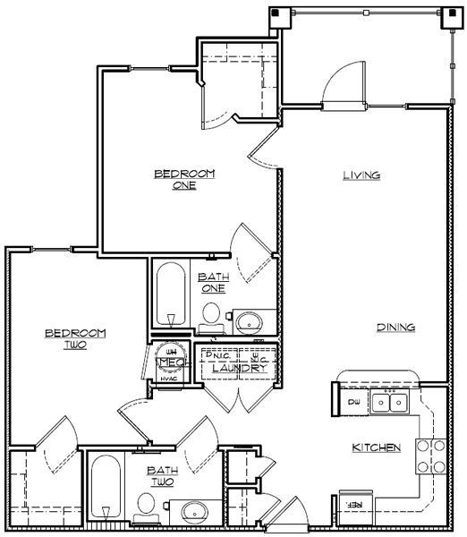982 sq. ft. Mkt floor plan