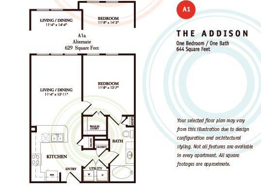 644 sq. ft. A1/Addison floor plan