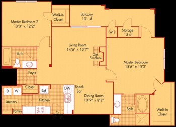 1,243 sq. ft. B41 floor plan