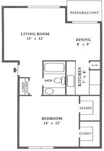 710 sq. ft. A5 floor plan