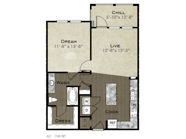 743 sq. ft. Skyline floor plan
