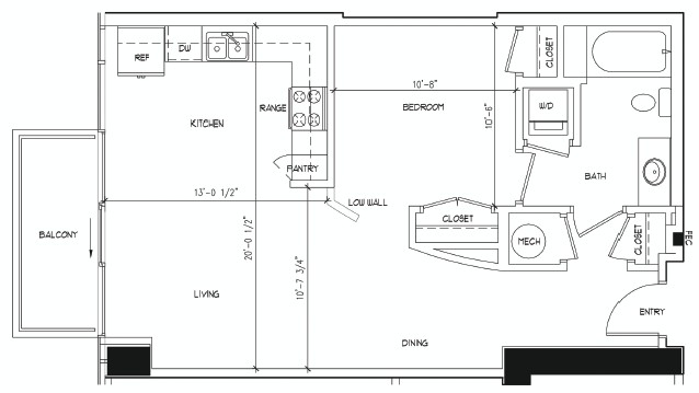 690 sq. ft. BLAKE floor plan