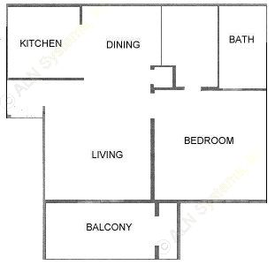 563 sq. ft. A1 floor plan