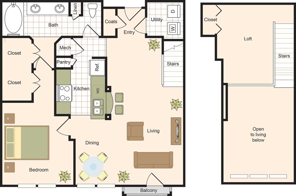 1,087 sq. ft. A6 floor plan