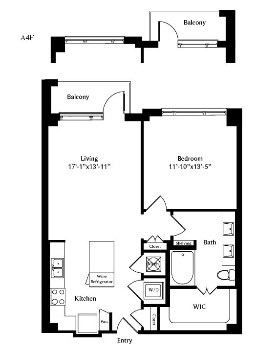 808 sq. ft. A4F floor plan