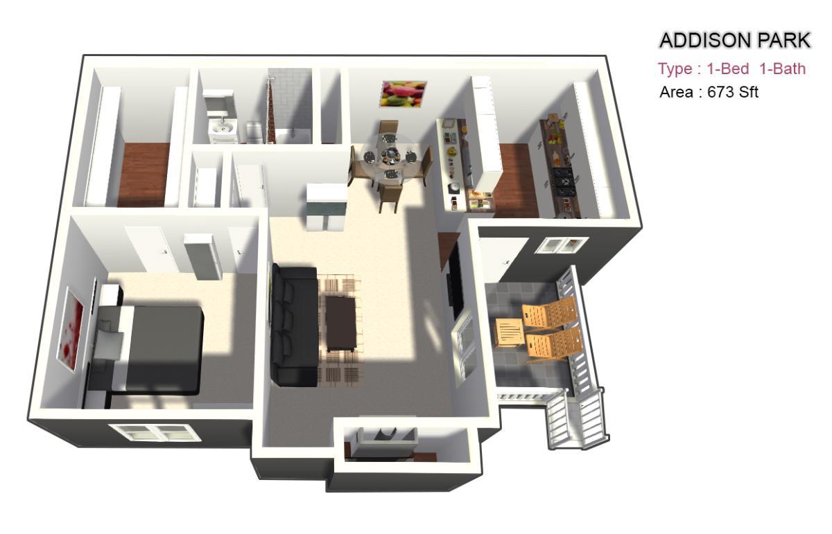 673 sq. ft. B/BF floor plan
