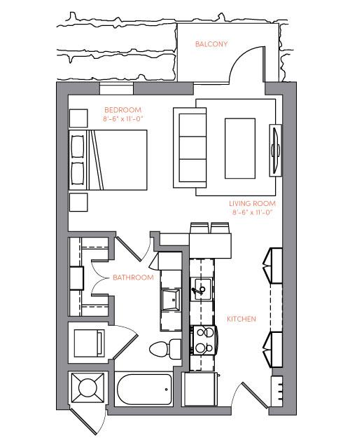 516 sq. ft. S1A.6 floor plan