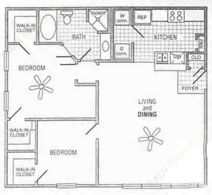 984 sq. ft. Mkt floor plan