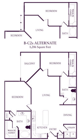 1,286 sq. ft. B-C2S floor plan